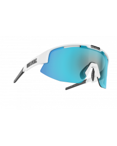 Bliz Matrix solbriller til sport - White frame/Smoke with blue multi lens
