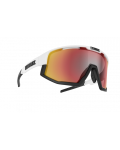 Bliz Active Fusion sportsbriller - White frame/Black Jawbone Smoke with red multi lens