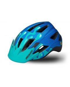 Specialized Shuffle youth led cykelhjelm til børn med lys og MIPS - Neon Blue/Acid Mint Slime
